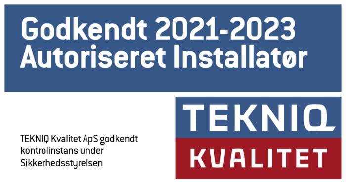 Godkendt elinstallatør 2021 og 2023